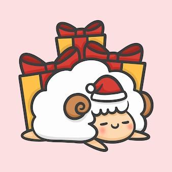 Mignon mouton endormi et boîtes-cadeaux