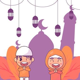 Mignon, musulman, garçon, et, fille, salutation, ramadan, kareem, islamique