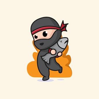 Mignon ninja chibi attraper l'illustration de dessin animé de poisson