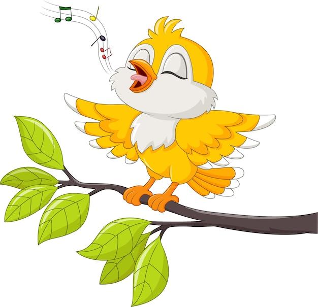 Mignon oiseau jaune chantant