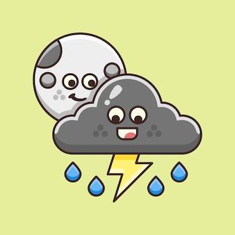 Mignon orage nuageux avec des éclairs dans la nuit illustration