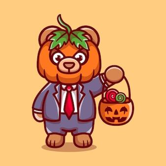 Mignon ours citrouille apporte des bonbons d'halloween
