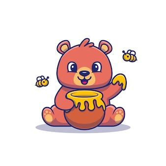 Mignon ours en peluche mange du miel illustration. ours et miel. style de dessin animé plat
