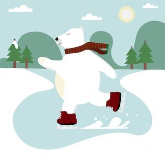 Mignon ours polaire dessiné à la main