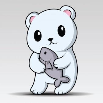 Mignon ours polaire est en train de rire