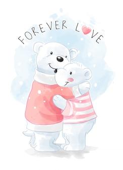Mignon, ours polaire, famille, étreindre, illustration