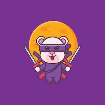 Mignon, ours polaire, ninja, dessin animé, icône, vecteur, illustration