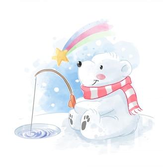 Mignon ours polaire pêchant avec illustration de météore