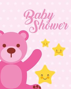 Mignon ours rose et étoiles dessin animé bébé douche carte