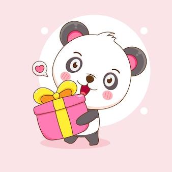 Mignon panda heureux apporte un dessin animé de boîte-cadeau