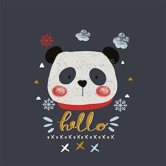 Mignon panda d'hiver dessiné à la main peut être utilisé pour la conception de chemises pour enfants ou bébés, conception d'impression de mode