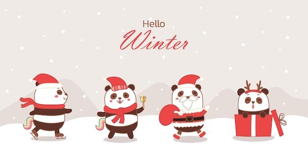 Mignon panda licorne dessin animé main dessiner bannière