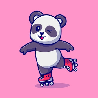 Mignon panda plying roller skate cartoon vector icon illustration. concept d'icône de sport animal isolé vecteur premium. style de dessin animé plat