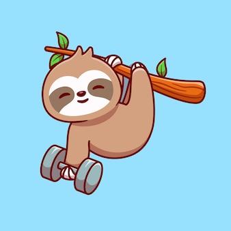 Mignon paresseux tenant haltère cartoon vector icon illustration. concept d'icône de sport animal isolé vecteur premium. style de dessin animé plat