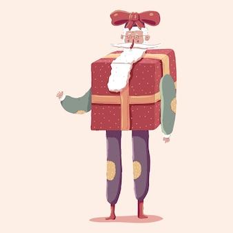 Mignon, père noël, dans, boîte cadeau, costume, dessin animé, caractère