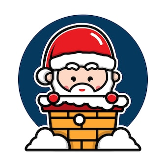 Mignon père noël dans le personnage de dessin animé de cheminée illustration de concept de noël