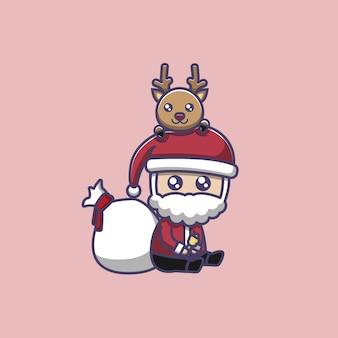 Mignon père noël et jolie illustration de renne