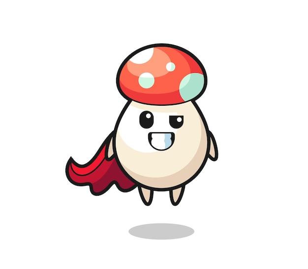 Le mignon personnage de champignon en tant que super-héros volant, design de style mignon pour t-shirt, autocollant, élément de logo