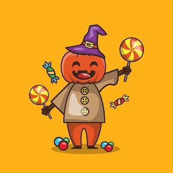 Mignon personnage de citrouille et de bonbons