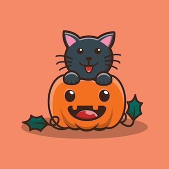 Mignon personnage de citrouille et de chat