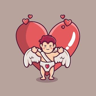 Mignon personnage de garçon cupidon avec grand coeur