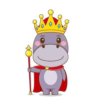 Mignon personnage hippopotame en tant que roi