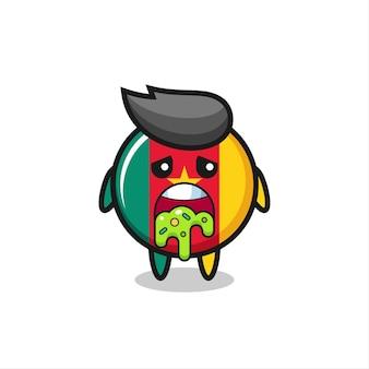 Le mignon personnage d'insigne du drapeau du cameroun avec vomi, design de style mignon pour t-shirt, autocollant, élément de logo