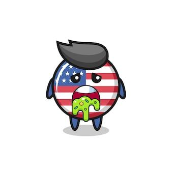 Le mignon personnage d'insigne du drapeau des états-unis avec vomi, design de style mignon pour t-shirt, autocollant, élément de logo