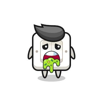 Le mignon personnage d'interrupteur avec vomi, design de style mignon pour t-shirt, autocollant, élément de logo