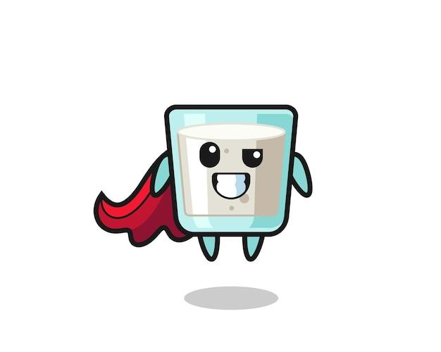 Le mignon personnage de lait en tant que super-héros volant, design de style mignon pour t-shirt, autocollant, élément de logo