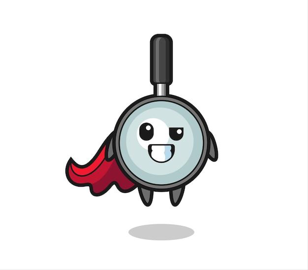 Le mignon personnage de loupe en tant que super-héros volant, design de style mignon pour t-shirt, autocollant, élément de logo