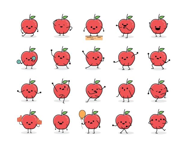 Mignon personnage de mascotte de pomme rouge dans un style design plat