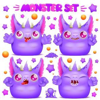 Mignon personnage de monstre de dessin animé violet emoji dans diverses émotions