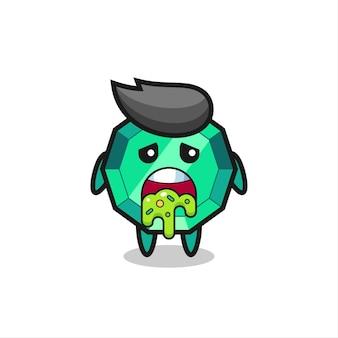 Le mignon personnage de pierre précieuse émeraude avec vomi, design de style mignon pour t-shirt, autocollant, élément de logo