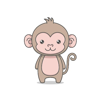 Mignon personnage de singe à longue queue