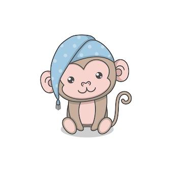 Mignon personnage de singe portant un chapeau de couchage
