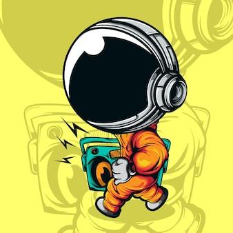 Mignon petit astronaute dansant avec la radio