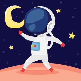 Mignon petit astronaute marchant sur la surface de la lune