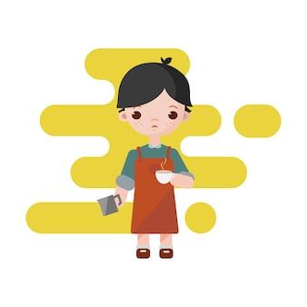 Mignon petit barista. garçon barista isolé. illustration. garçon de barista avec une tasse de lait au café dans les mains.