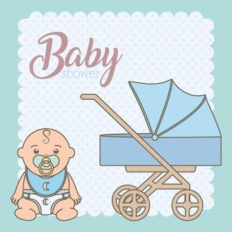 Mignon petit bébé garçon avec chariot