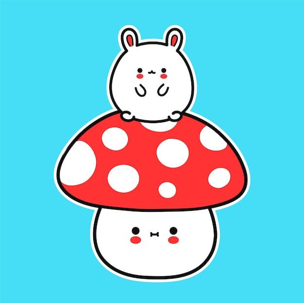 Mignon petit bébé lapin drôle sur champignon amanite. icône d'illustration de personnage kawaii cartoon dessiné à la main de vecteur. lapin, lapin, champignon amanite, concept de dessin animé en pleine croissance