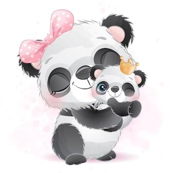 Mignon petit bébé panda et mère