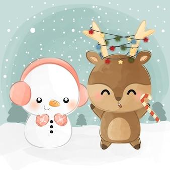 Mignon petit cerf et bonhomme de neige