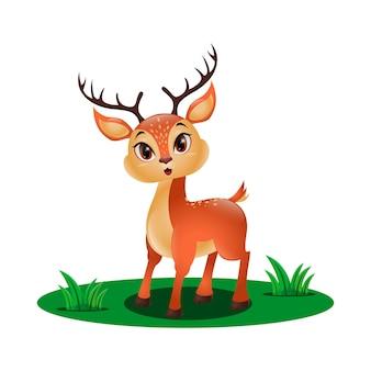 Mignon petit cerf dans l'herbe