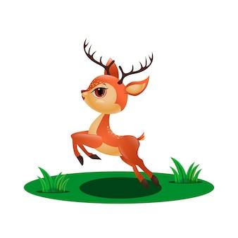 Mignon petit cerf sautant dans l'herbe