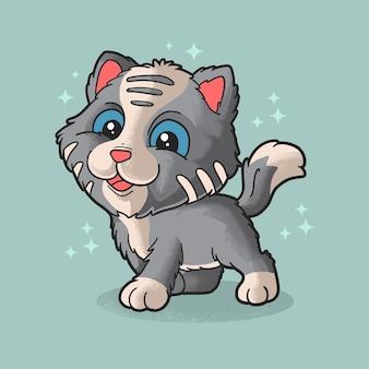 Mignon petit chat et drôle de style grunge illustration animal