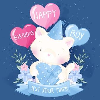 Mignon petit chat fête son anniversaire