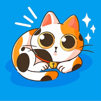 Mignon petit chaton calico mascotte doodle illustration actif