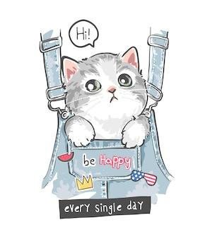 Mignon petit chaton dans la poche avant de la salopette et illustration d'icônes mignonnes colorées