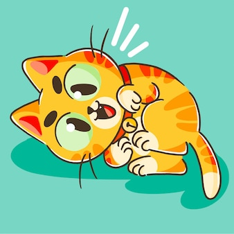 Mignon petit chaton orange jouant mascotte doodle illustration actif